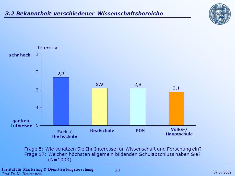 Institut für Marketing & Dienstleistungsforschung Prof. Dr. M. Benkenstein 33 09.07.2008 3.2 Bekanntheit verschiedener Wissenschaftsbereiche Frage 5:
