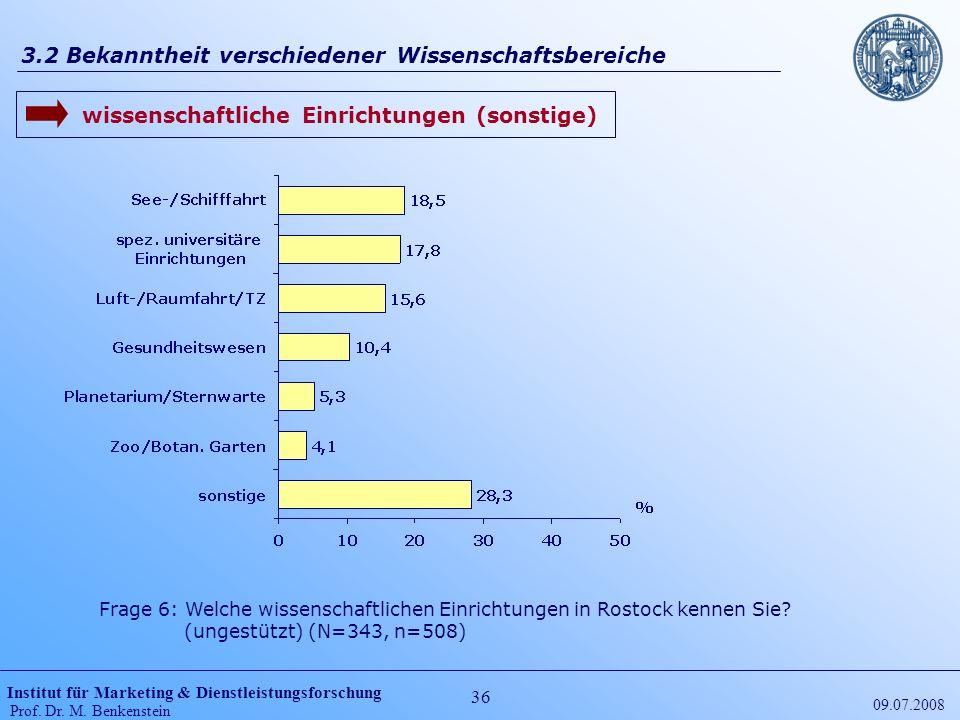 Institut für Marketing & Dienstleistungsforschung Prof. Dr. M. Benkenstein 36 09.07.2008 3.2 Bekanntheit verschiedener Wissenschaftsbereiche Frage 6: