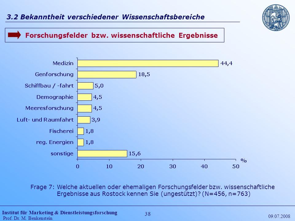 Institut für Marketing & Dienstleistungsforschung Prof. Dr. M. Benkenstein 38 09.07.2008 3.2 Bekanntheit verschiedener Wissenschaftsbereiche Frage 7: