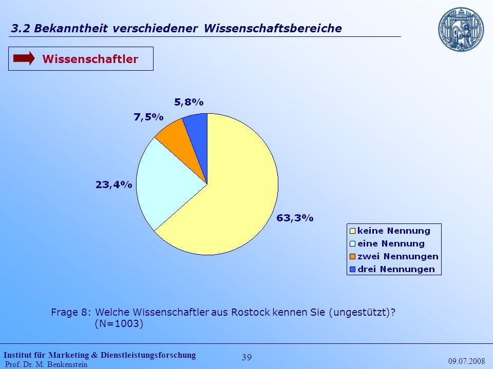 Institut für Marketing & Dienstleistungsforschung Prof. Dr. M. Benkenstein 39 09.07.2008 3.2 Bekanntheit verschiedener Wissenschaftsbereiche Frage 8: