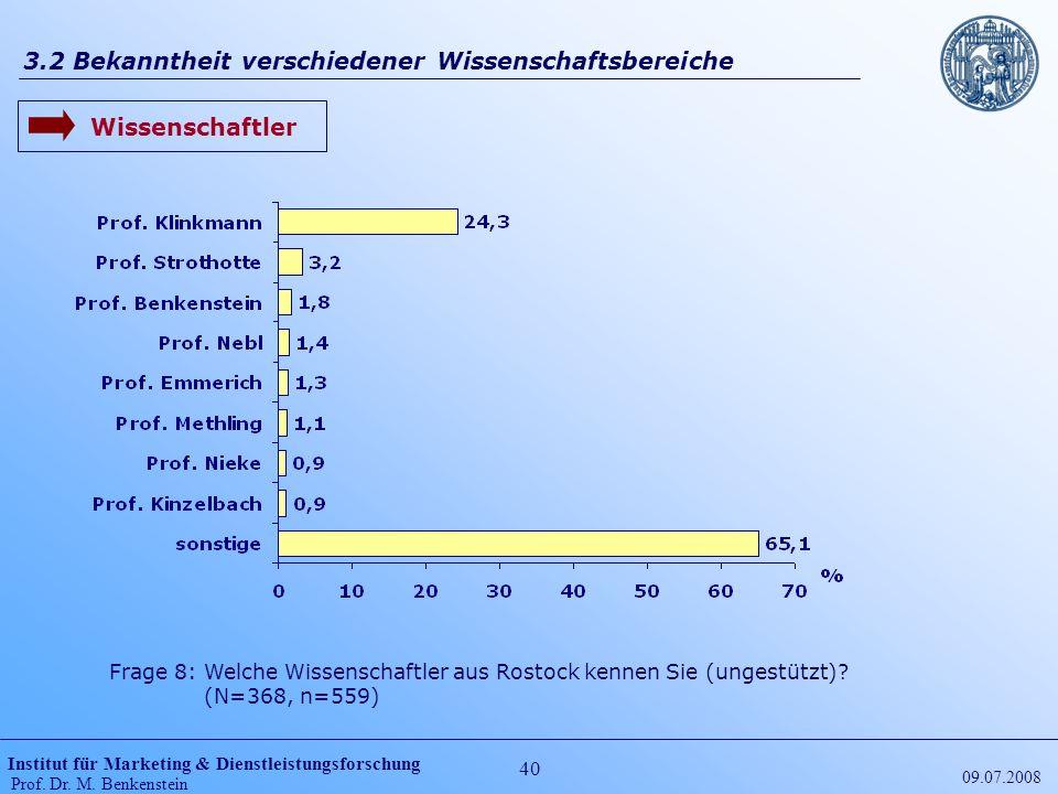 Institut für Marketing & Dienstleistungsforschung Prof. Dr. M. Benkenstein 40 09.07.2008 3.2 Bekanntheit verschiedener Wissenschaftsbereiche Wissensch