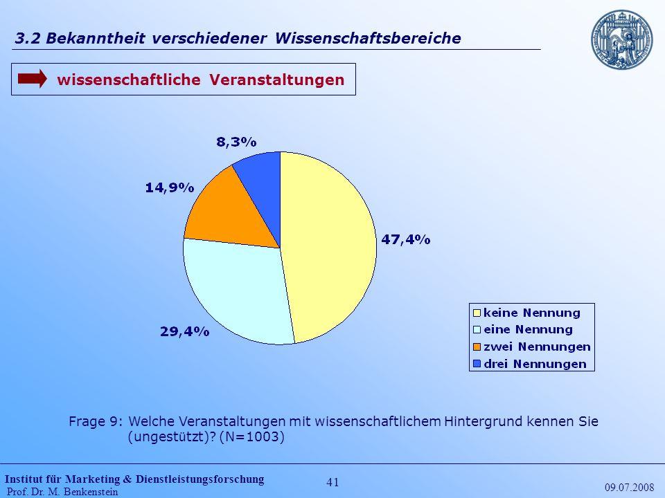 Institut für Marketing & Dienstleistungsforschung Prof. Dr. M. Benkenstein 41 09.07.2008 3.2 Bekanntheit verschiedener Wissenschaftsbereiche Frage 9: