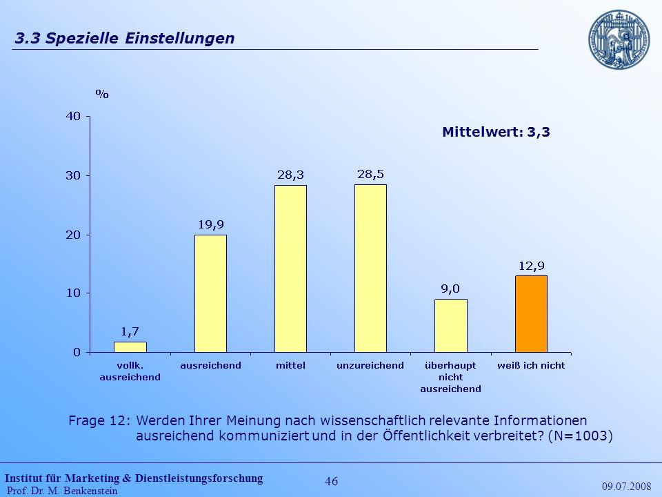 Institut für Marketing & Dienstleistungsforschung Prof. Dr. M. Benkenstein 46 09.07.2008 3.3 Spezielle Einstellungen Frage 12: Werden Ihrer Meinung na