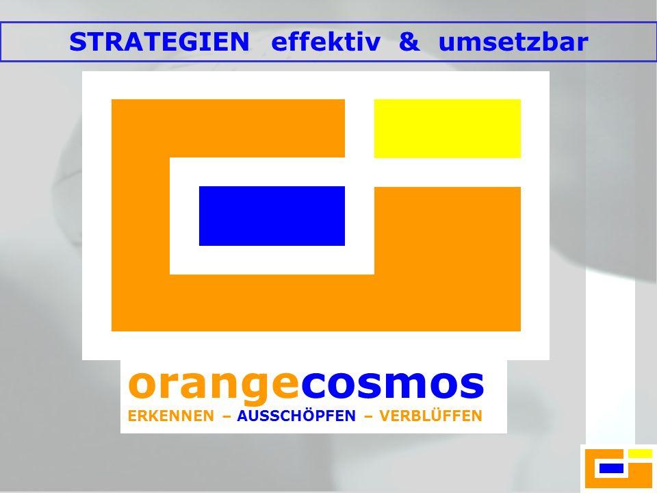 orangecosmos ERKENNEN – AUSSCHÖPFEN – VERBLÜFFEN ERKENNEN – AUSSCHÖPFEN - VERBLÜFFEN Einzigartige Menschen Einzigartige Unternehmen Schaffen Einzigartige Strategien