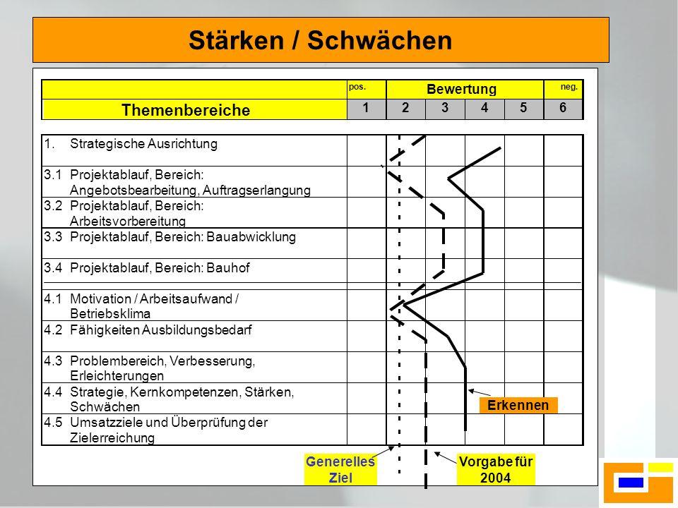 Stärken / Schwächen Generelles Ziel Vorgabe für 2004 Erkennen