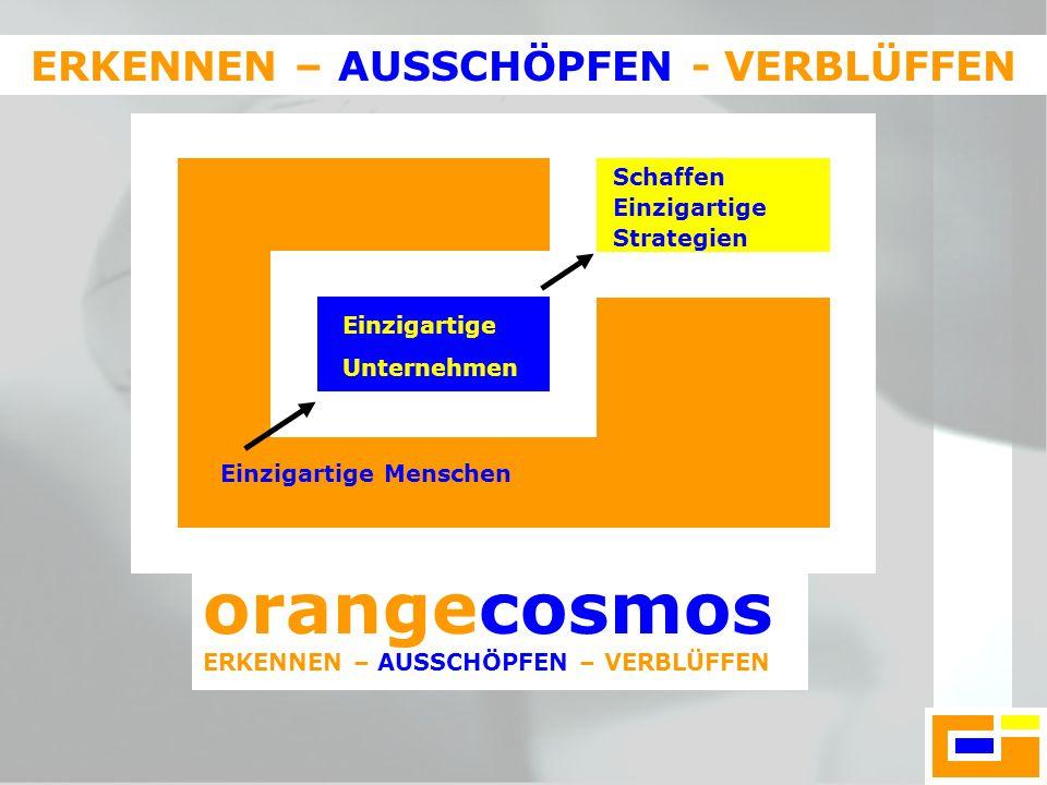 orangecosmos ERKENNEN – AUSSCHÖPFEN – VERBLÜFFEN ERKENNEN – AUSSCHÖPFEN - VERBLÜFFEN Einzigartige Menschen Einzigartige Unternehmen Schaffen Einzigart