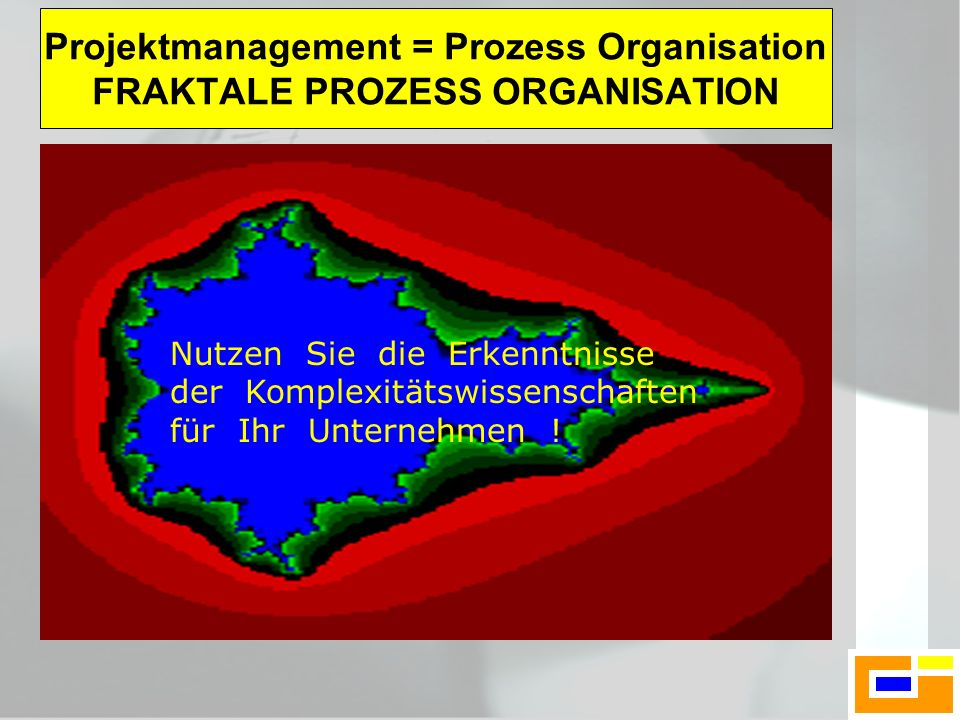 Nutzen Sie die Erkenntnisse der Komplexitätswissenschaften für Ihr Unternehmen ! Projektmanagement = Prozess Organisation FRAKTALE PROZESS ORGANISATIO