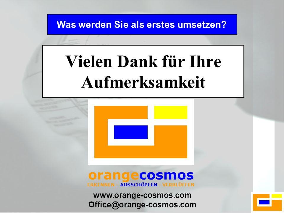 www.orange-cosmos.com Office@orange-cosmos.com Vielen Dank für Ihre Aufmerksamkeit Was werden Sie als erstes umsetzen? orangecosmos ERKENNEN – AUSSCHÖ