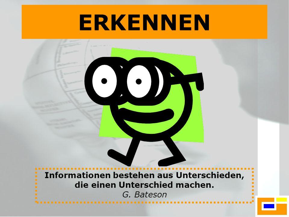 Informationen bestehen aus Unterschieden, die einen Unterschied machen. G. Bateson ERKENNEN