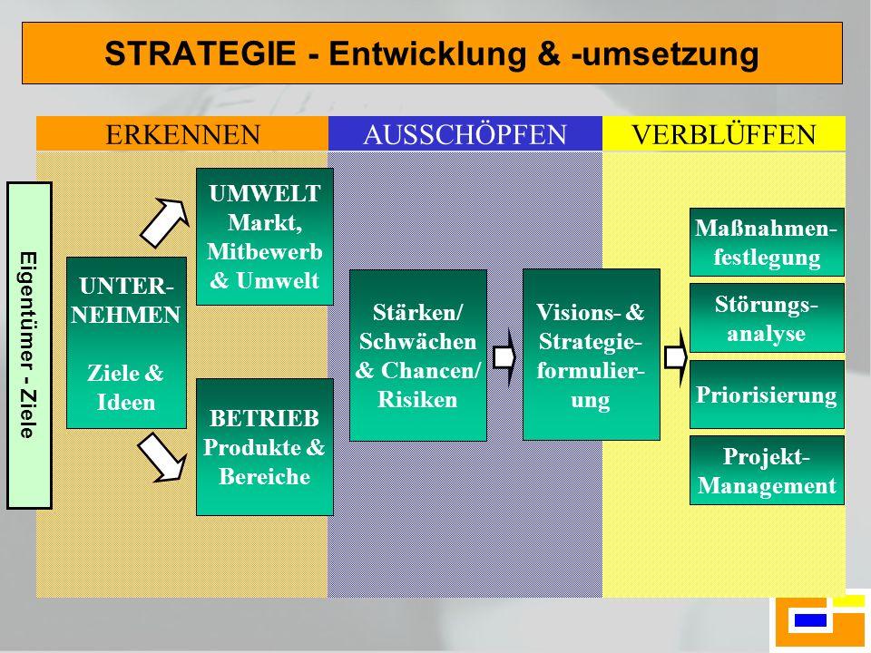 STRATEGIE - Entwicklung & -umsetzung UNTER- NEHMEN Ziele & Ideen UMWELT Markt, Mitbewerb & Umwelt BETRIEB Produkte & Bereiche Stärken/ Schwächen & Cha