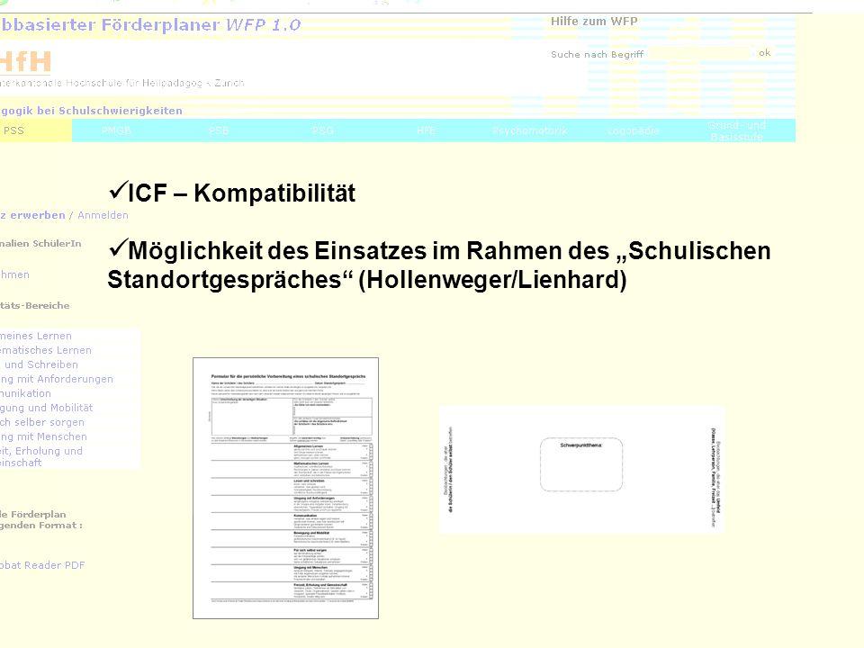 4 ICF – Kompatibilität Möglichkeit des Einsatzes im Rahmen des Schulischen Standortgespräches (Hollenweger/Lienhard)