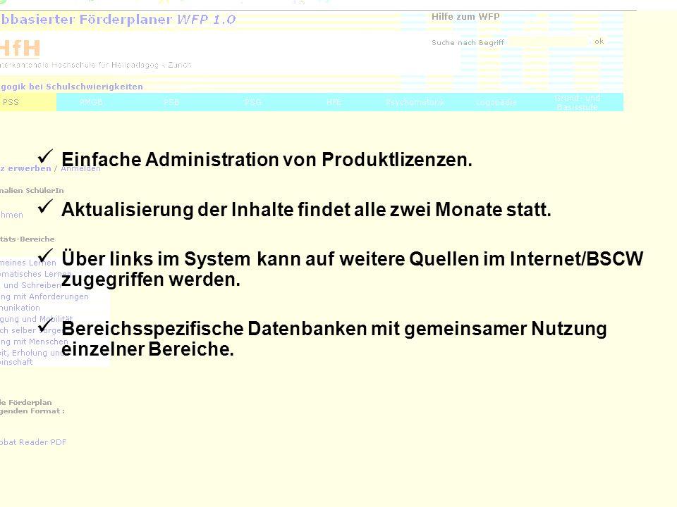 7 Einfache Administration von Produktlizenzen. Aktualisierung der Inhalte findet alle zwei Monate statt. Über links im System kann auf weitere Quellen
