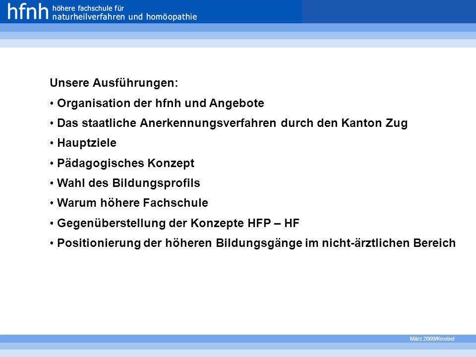 März 2009/Knobel Unsere Ausführungen: Organisation der hfnh und Angebote Das staatliche Anerkennungsverfahren durch den Kanton Zug Hauptziele Pädagogi