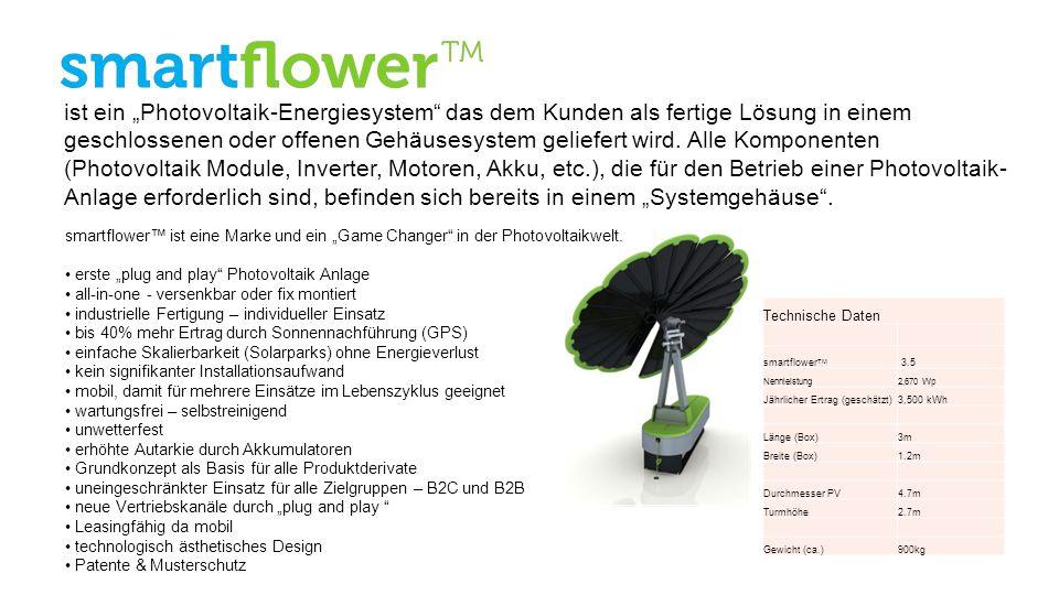 Technische Daten smartflower TM 3.5 Nennleistung2,670 Wp Jährlicher Ertrag (geschätzt)3,500 kWh Länge (Box)3m Breite (Box)1.2m Durchmesser PV4.7m Turm