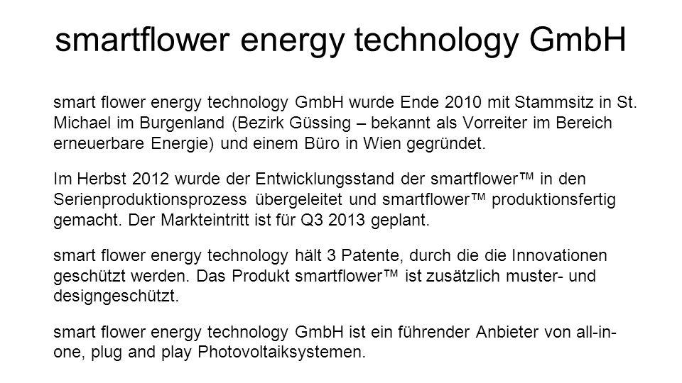 smartflower energy technology GmbH smart ower energy technology GmbH wurde Ende 2010 mit Stammsitz in St. Michael im Burgenland (Bezirk Güssing – beka