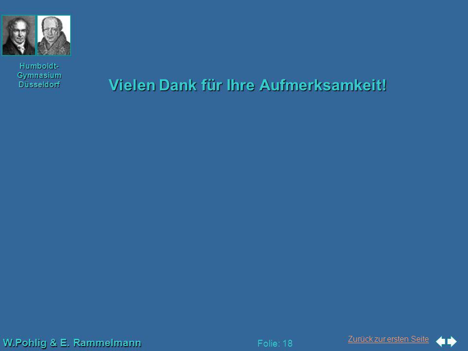 Zurück zur ersten Seite W.Pohlig & E. Rammelmann Humboldt- Gymnasium Düsseldorf Folie: 18 Vielen Dank für Ihre Aufmerksamkeit!