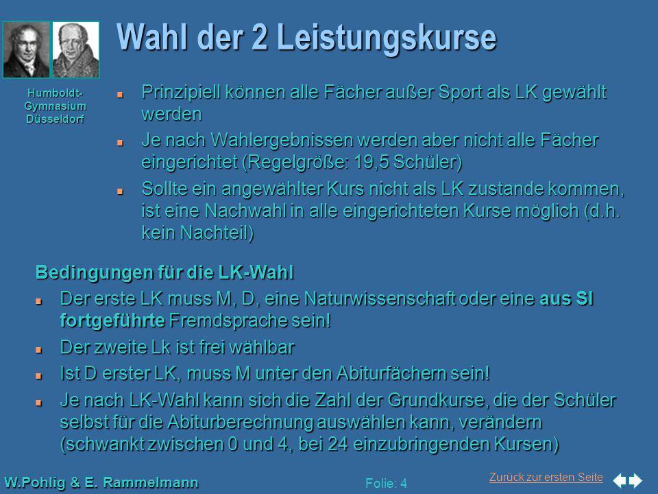 Zurück zur ersten Seite W.Pohlig & E. Rammelmann Humboldt- Gymnasium Düsseldorf Folie: 4 Wahl der 2 Leistungskurse n Prinzipiell können alle Fächer au