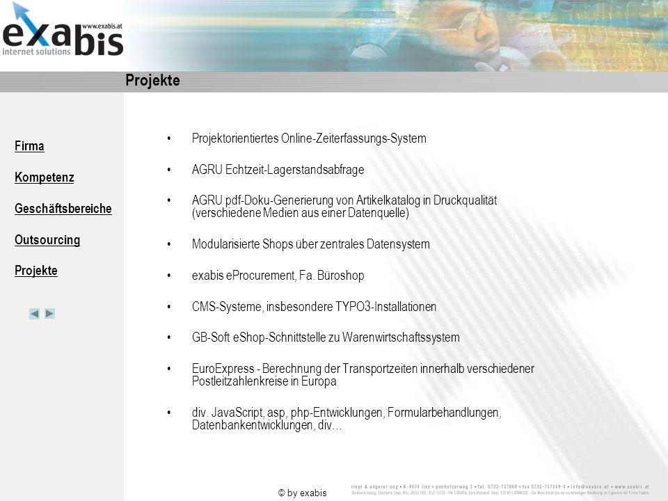 Firma Kompetenz Geschäftsbereiche Outsourcing Projekte © by exabis weitere Infos unter www.exabis.at