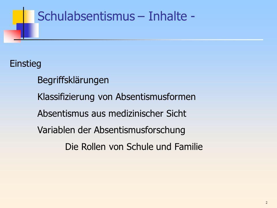 2 Schulabsentismus – Inhalte - Einstieg Begriffsklärungen Klassifizierung von Absentismusformen Absentismus aus medizinischer Sicht Variablen der Abse