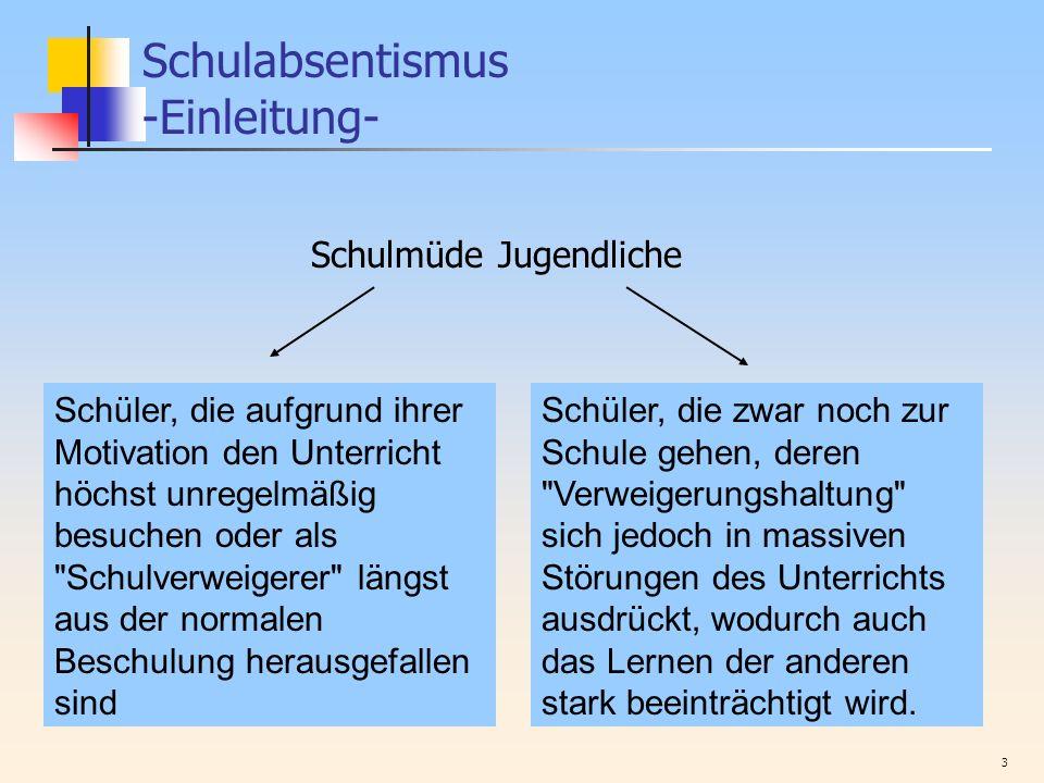 4 Schulabsentismus -Einleitung- Studie von Kaiser (1983)...