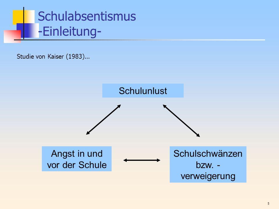 5 Schulabsentismus -Einleitung- Studie von Kaiser (1983)... Schulunlust Angst in und vor der Schule Schulschwänzen bzw. - verweigerung