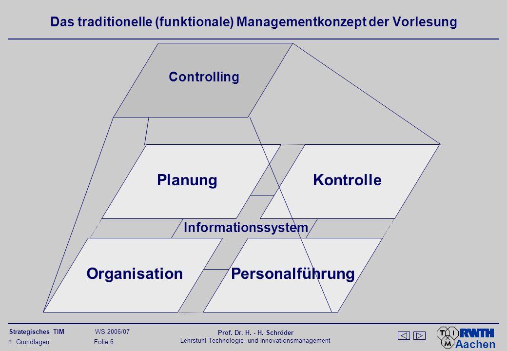 Aachen Strategisches TIM WS 2006/07 Prof. Dr. H. - H. Schröder Lehrstuhl Technologie- und Innovationsmanagement 1 Grundlagen Folie 6 Informationssyste