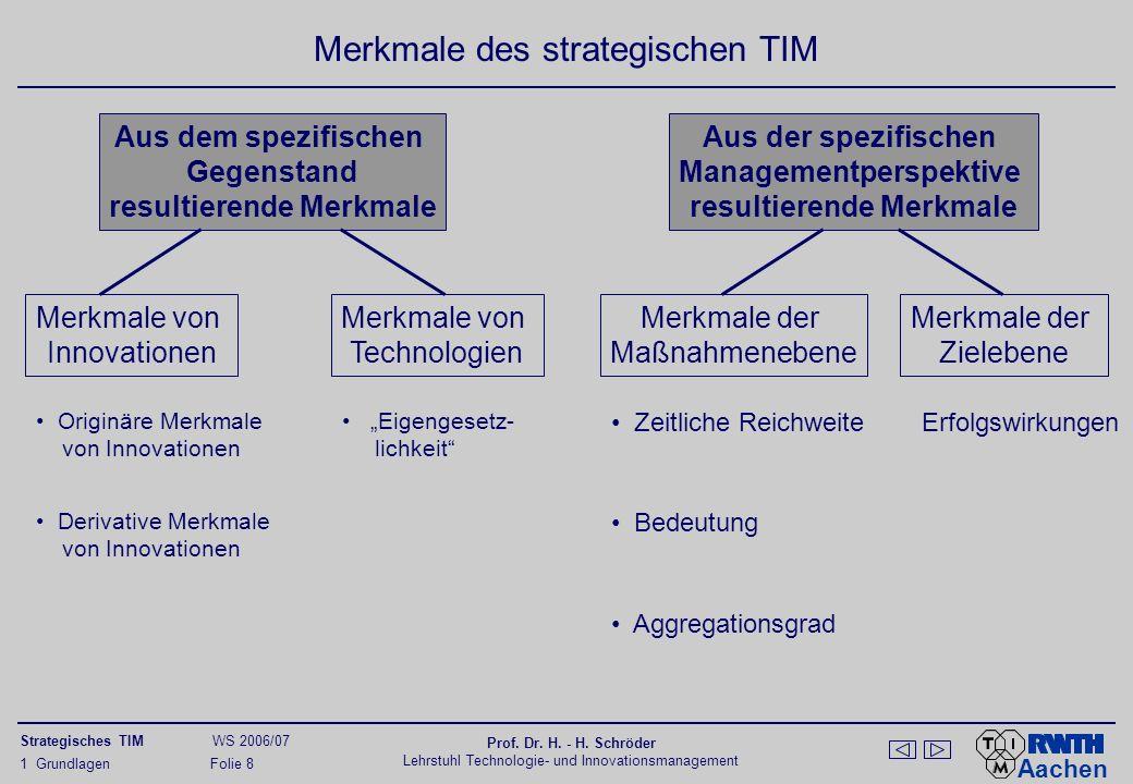 Aachen Strategisches TIM WS 2006/07 Prof. Dr. H. - H. Schröder Lehrstuhl Technologie- und Innovationsmanagement 1 Grundlagen Folie 8 Merkmale des stra