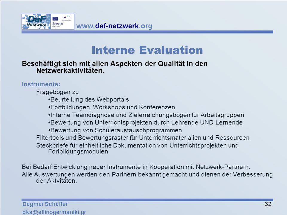 www.daf-netzwerk.org 32 Dagmar Schäffer dks@ellinogermaniki.gr Interne Evaluation Beschäftigt sich mit allen Aspekten der Qualität in den Netzwerkakti