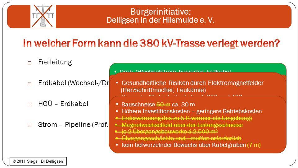 Bürgerinitiative: Delligsen in der Hilsmulde e. V. Freileitung Erdkabel (Wechsel-/Drehstrom) HGÜ – Erdkabel Strom – Pipeline (Prof. Dr. Brakelmann) Dr