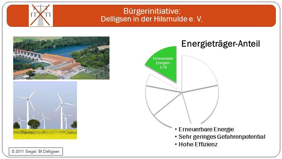 Bürgerinitiative: Delligsen in der Hilsmulde e. V. Erneuerbare Energie Sehr geringes Gefahrenpotential Hohe Effizienz © 2011 Siegel, BI Delligsen