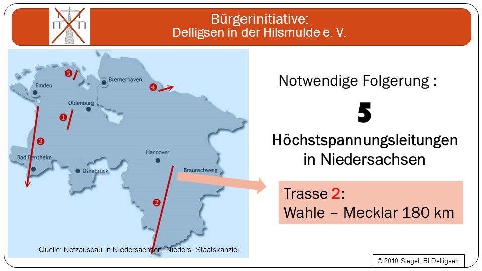 Bürgerinitiative: Delligsen in der Hilsmulde e. V. Notwendige Folgerung : 5 Höchstspannungsleitungen in Niedersachsen Trasse 2: Wahle – Mecklar 180 km