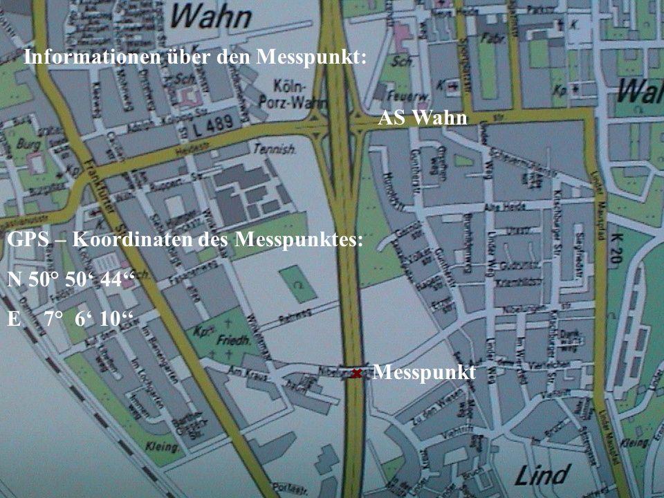 Messpunkt AS Wahn Informationen über den Messpunkt: GPS – Koordinaten des Messpunktes: N 50° 50 44 E 7° 6 10