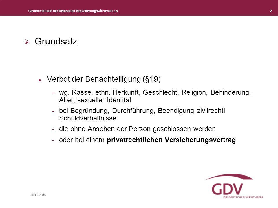 Gesamtverband der Deutschen Versicherungswirtschaft e.V. 2 ©MF 2006 Grundsatz Verbot der Benachteiligung (§19) -wg. Rasse, ethn. Herkunft, Geschlecht,