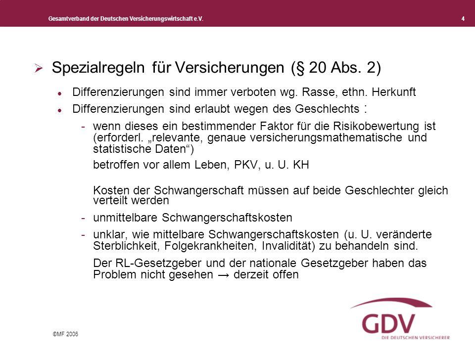 Gesamtverband der Deutschen Versicherungswirtschaft e.V. 4 ©MF 2006 Spezialregeln für Versicherungen (§ 20 Abs. 2) Differenzierungen sind immer verbot