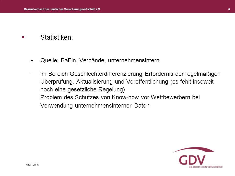 Gesamtverband der Deutschen Versicherungswirtschaft e.V. 6 ©MF 2006 Statistiken: - Quelle: BaFin, Verbände, unternehmensintern - im Bereich Geschlecht