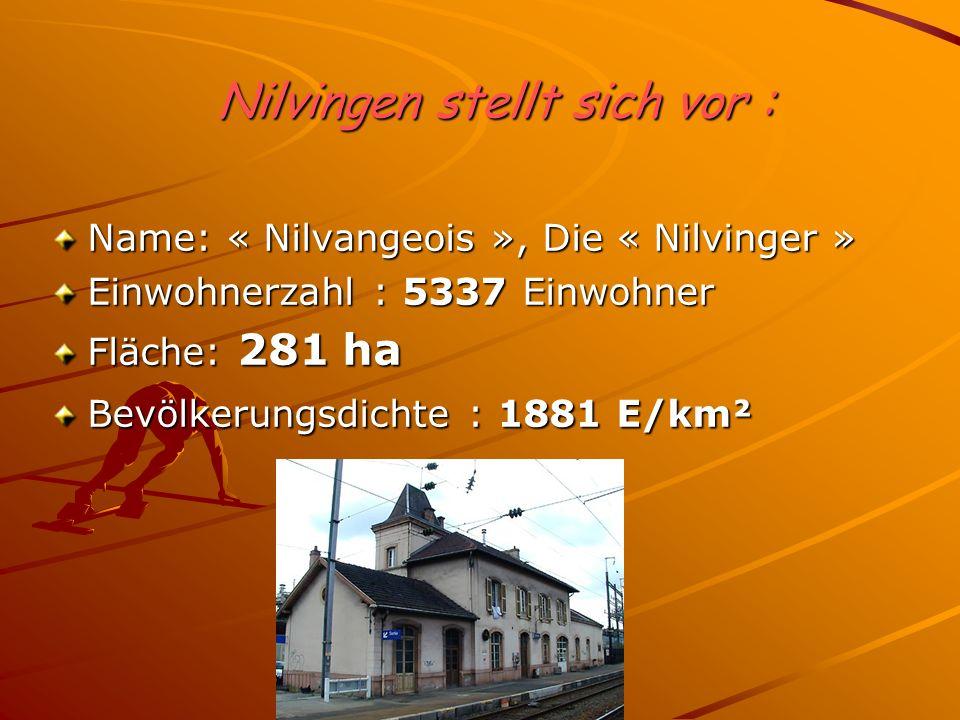 Nilvingen stellt sich vor : Name: « Nilvangeois », Die « Nilvinger » Einwohnerzahl : 5337 Einwohner Fläche: 281 ha Bevölkerungsdichte : 1881 E/km²