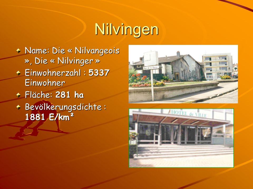Nilvingen Name: Die « Nilvangeois », Die « Nilvinger » Einwohnerzahl : 5337 Einwohner Fläche: 281 ha Bevölkerungsdichte : 1881 E/km²