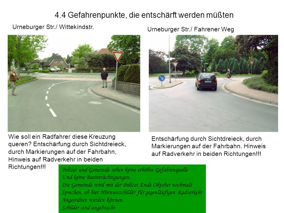 4.3 Gefahrenpunkte, die entschärft werden müßten Grüner Weg / Grüppenbührener Straßee / Neddenhüsen Der Haltestrich sollte erneuert werden Längsstrich in Fahrbaürde das Gefahrenpotenzial vermindern.