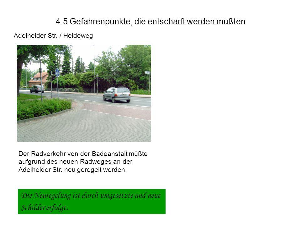 4.4 Gefahrenpunkte, die entschärft werden müßten Urneburger Str./ Wittekindstr.