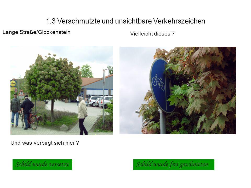1.3 Verschmutzte und unsichtbare Verkehrszeichen Lange Straße/Glockenstein Vielleicht dieses .