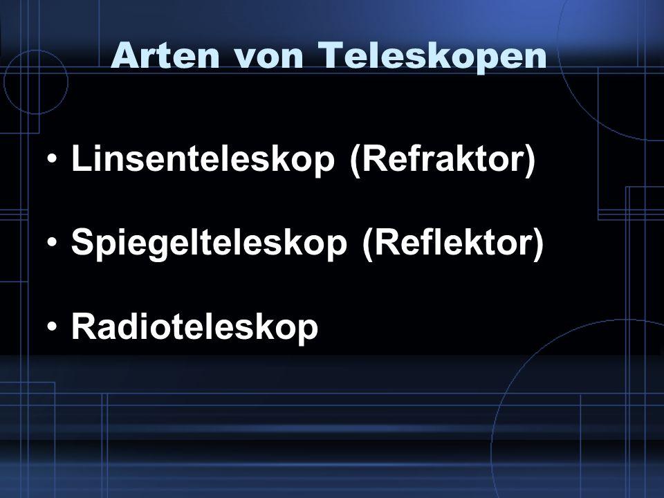 Arten von Teleskopen Linsenteleskop (Refraktor) Spiegelteleskop (Reflektor) Radioteleskop
