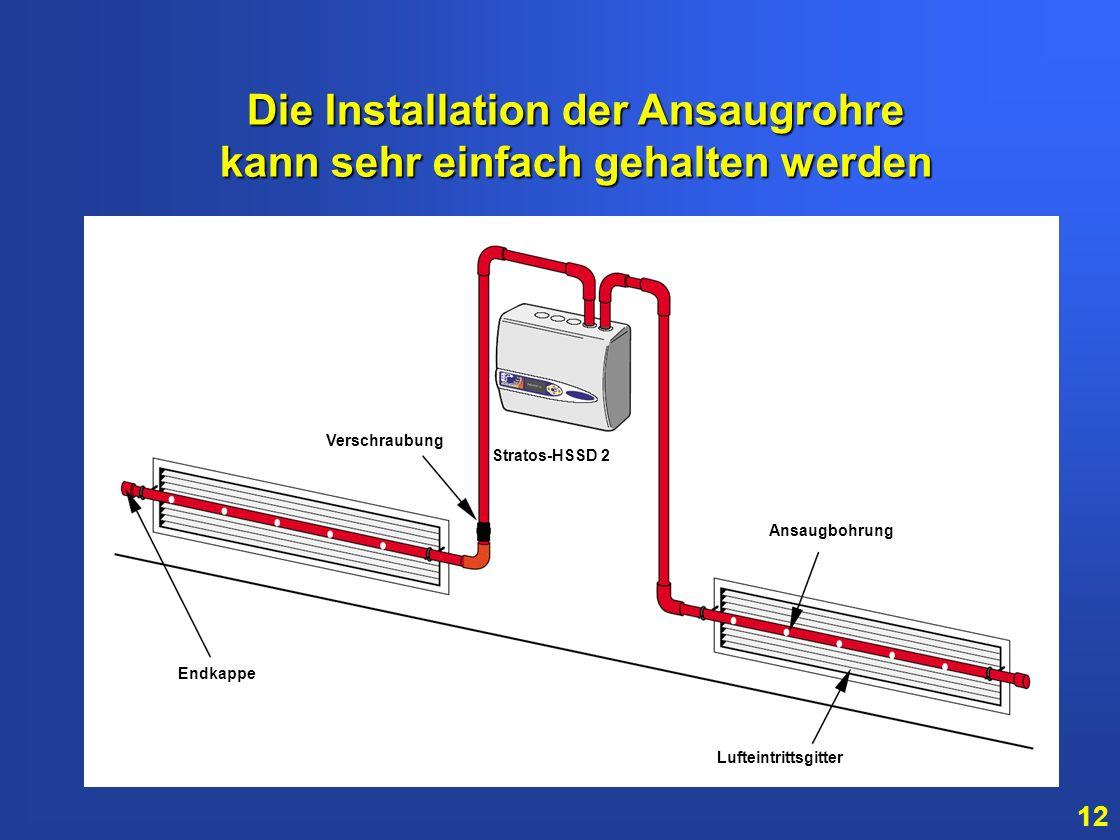 11 In diesem Beispiel sind die Ansaugöffnungen im Luftstrom platziert. Hierdurch wird die früheste Branderkennung gewährleistet. Ansaugrohre Endkappe