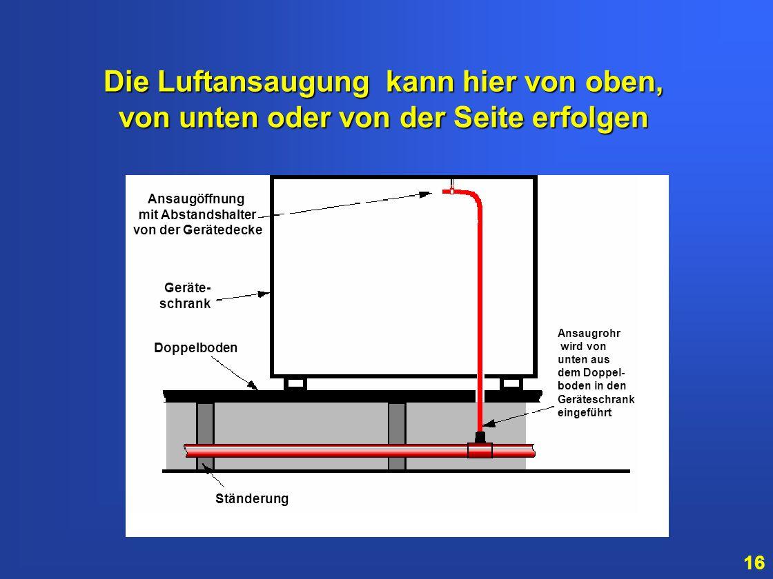 15 So können Ansaugrohre angeordnet werden, um elektronische Geräteschränke zu überwachen Geräteschränke Ansaugöffnung direkt im Geräteschrank Stratos