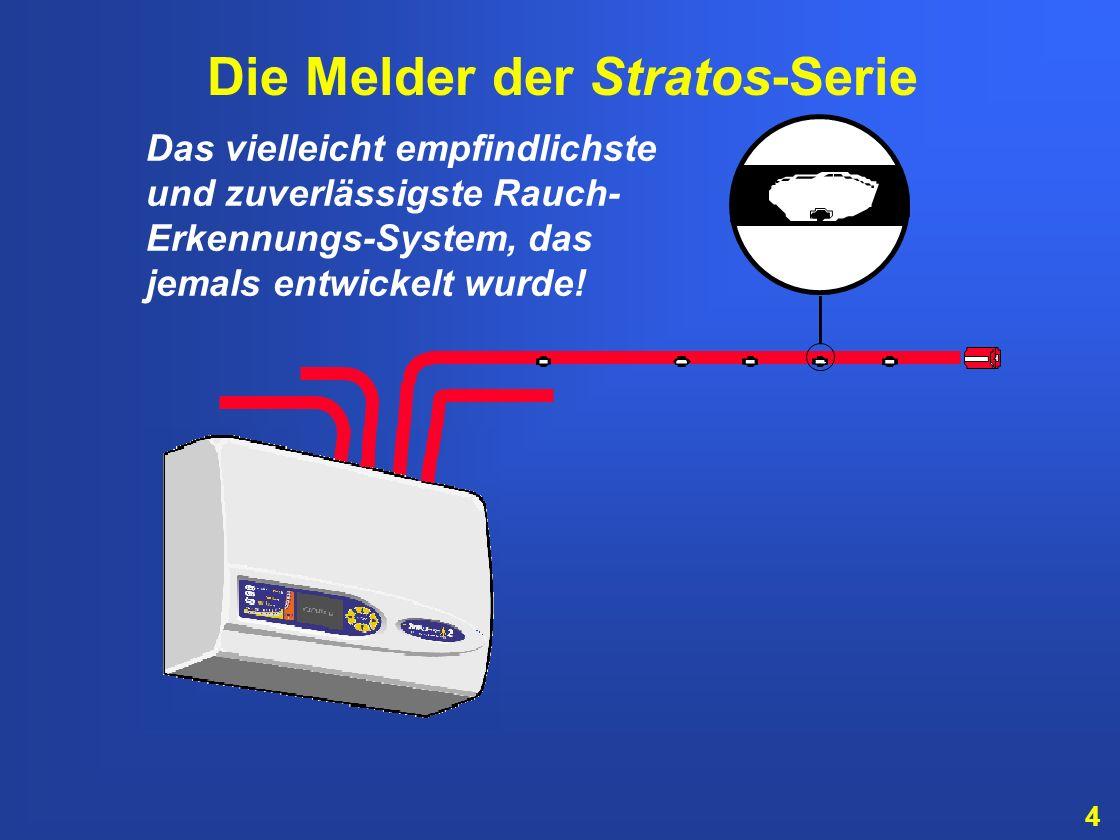 64 System mit mehreren Meldern: Brandmelde- zentrale Stratos-HSSD 2 mit Steuermodul Stratos-HSSD 2 Stratos-Micra 100 Stratos-Micra 25 Stratos-HSSD 2 Beispiel: Stratos-HSSD 2 und Stratos-Micra bis zu 127 Melder auf dem Datenbus möglich!