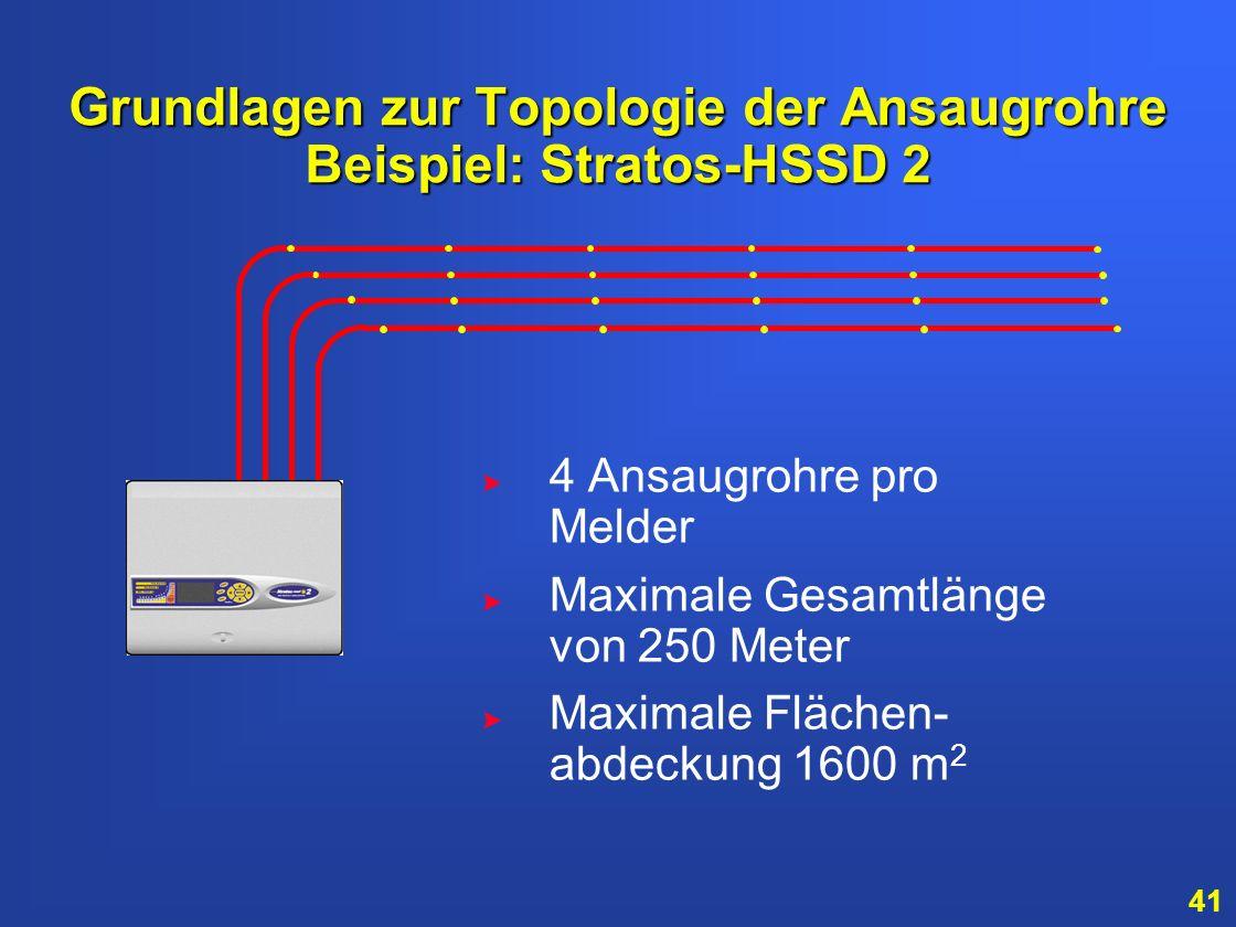 40 Grundlagen zur Topologie der Ansaugrohre Beispiel: Stratos-HSSD 2 > > Die maximale Länge eines Ansaugrohres beträgt 100 Meter > > 25 Ansaugöffnunge