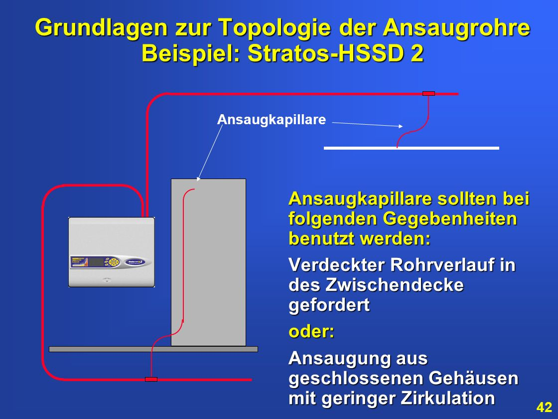 41 > > 4 Ansaugrohre pro Melder > > Maximale Gesamtlänge von 250 Meter > > Maximale Flächen- abdeckung 1600 m 2 Grundlagen zur Topologie der Ansaugroh