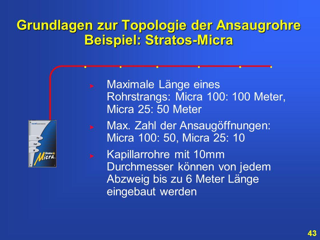 42 Ansaugkapillare Ansaugkapillare sollten bei folgenden Gegebenheiten benutzt werden: Verdeckter Rohrverlauf in des Zwischendecke gefordert oder: Ans