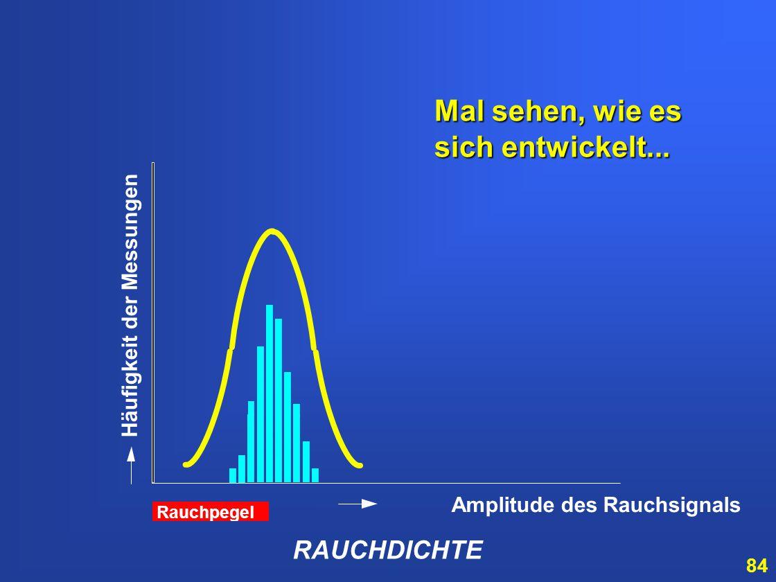 83 Durch Schwankungen der Rauchdichte entsteht ein Histogramm der Rauchdichteverteilung RAUCHDICHTE Amplitude des Rauchsignals Häufigkeit der Messunge