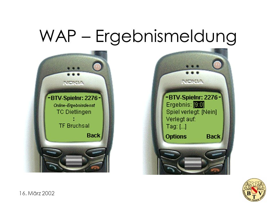 16. März 2002 WAP – Ergebnismeldung