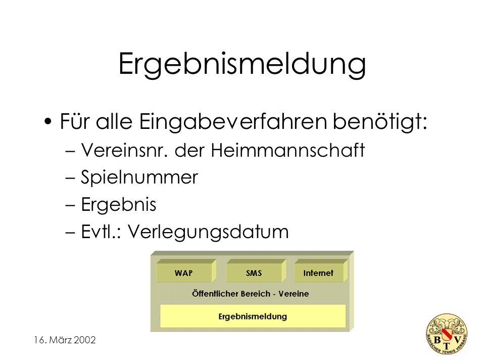 16. März 2002 Ergebnismeldung Für alle Eingabeverfahren benötigt: –Vereinsnr.